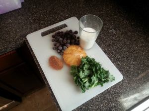blueberry grilled pinneapple and kale